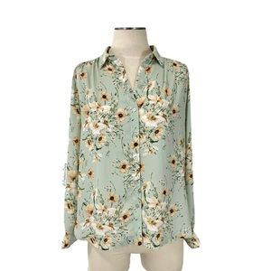 H&M- Long Sleeved Mint Cream Floral Blouse Size 6